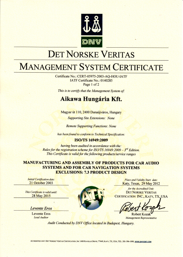 Aikawa Hungaria Ltd. - quality control systems,3D Measuring ...